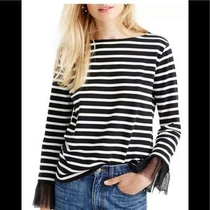 J.CREW Tulle Cuffed Striped black and white shirt